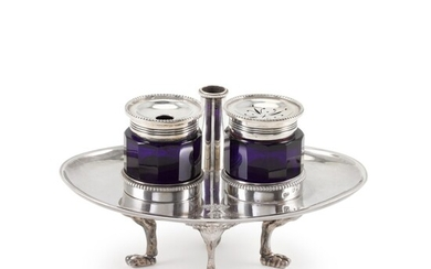 A George IV silver inkstand, Benjamin Smith, London, 1827