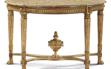 A LOUIS XVI CARVED AND GILTWOOD CONSOLE TABLE WITH A BRÈCHE D'ALEP MARBLE TOP, LATE 18TH CENTURY