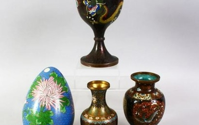 A MIXED LOT OF SIX CHINESE / JAPANESE CLOISONNE ITEMS,