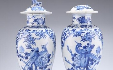 A PAIR OF CHINESE BLUE AND WHITE PORCELAIN VASES AND