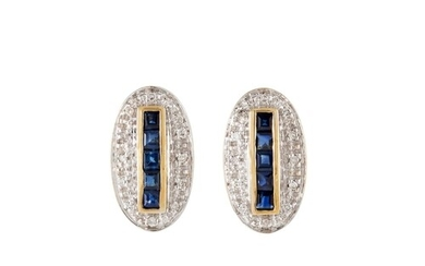 A PAIR OF DIAMOND AND SAPPHIRE CLUSTER EARRINGS, the princes...