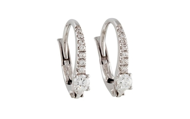 A PAIR OF DIAMOND SET EARRINGS, mounted in white gold