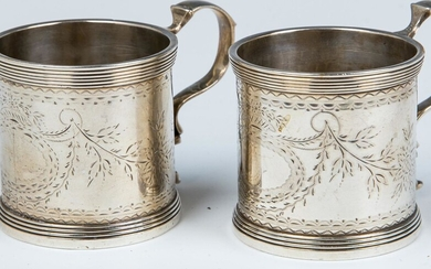A PAIR OF EARLY SILVER HANDLED CUPS. Germany, c. 1800.