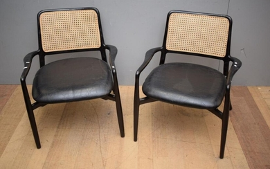 A PAIR OF TEAK AND RATTAN ACCENT CHAIRS (A/F) (79H X 73W X 77D CM)