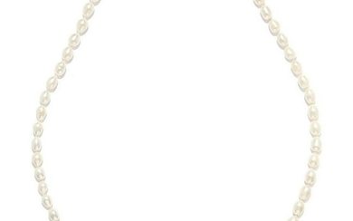 A PEARL ROPE NECKLACE comprising of a single row of