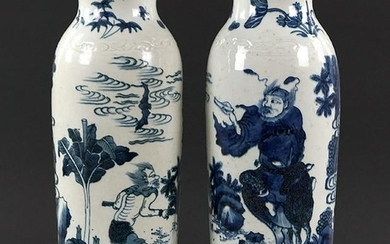 A Pair of Chinese Blue and White Porcelain Vases.