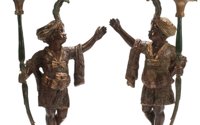 A Pair of Venetian-Style Bronze and Polychrome Figural Torchieres