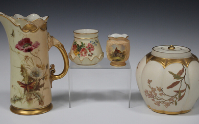 A Royal Worcester blush ivory jug, circa 1893, decorated after Edward Raby, monogrammed, with a moth