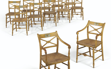 A SET OF TWELVE FEDERAL PAINT-DECORATED DINING CHAIRS, BALTIMORE, EARLY 19TH CENTURY