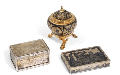 A SILVER-GILT AND NIELLO SALT CELLAR AND TWO SNUFF BOXES, THE SALT CELLAR, MAKER'S MARK CYRILLIC 'V.A', MOSCOW, 1792; ONE SNUFF BOX, MARK OF VASILY POPOV, MOSCOW, FIRST HALF 19TH CENTURY; THE OTHER SNUFF BOX, PROBABLY RUSSIA, 19TH CENTURY