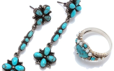 A SILVER TURQUOISE RING AND DROP EARRINGS; ring set with an oval and round cabochon turquoise and seed pearls, size P, drop earrings...