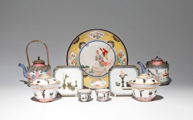 A SMALL COLLECTION OF CHINESE CANTON ENAMEL ITEMS QIANLONG 1736-95 Comprising: a dish painted with a European lady and her attendant, with flowers to the base, two teapots and covers decorated with figures, two small wine cups, two small square dishes...