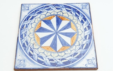 A SPANISH HAND PAINTED MAJOLICA GLAZED TERRACOTTA TILE, 29 X 29 CM, LEONARD JOEL LOCAL DELIVERY SIZE: SMALL