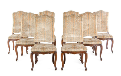 A Set of Eight Louis XV Style Dining Chairs