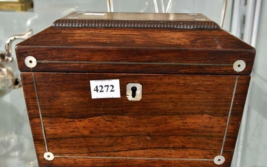 A VICTORIAN ROSEWOOD MOTHER OF PEARL INLAY TEA CADDY