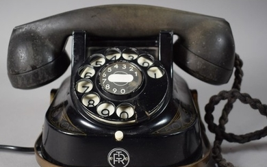 A Vintage Belgian Telephone with Brass Carrying Handle by th...
