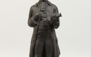 A WEDGWOOD BLACK BASALT FIGURE OF JOSIAH WEDGWOOD FRS