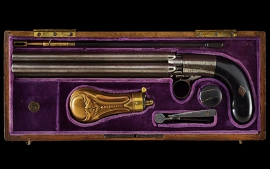 A cased five shoot pepperbox percussion revolver by...