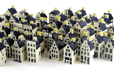 A collection of sixty five KLM blue Delft houses or cottages...