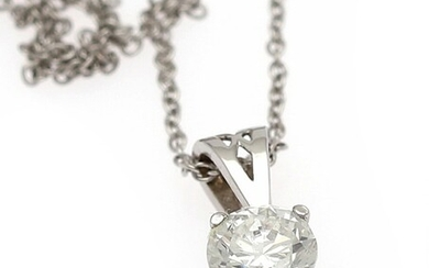 A diamond pendant set with a brilliant-cut diamond weighing a total of app. 0.35 ct., mounted in 14k white gold. Accompanied by necklace of 14k white gold.