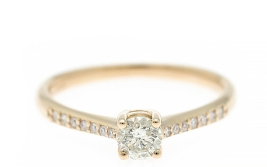 A diamond ring set with a brilliant-cut diamond flanked by numerous brilliant-cut diamonds weighing a total of app. 0.38 ct, mounted in 14k gold. Size 54.