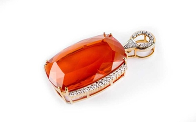 A fire opal and diamond pendant