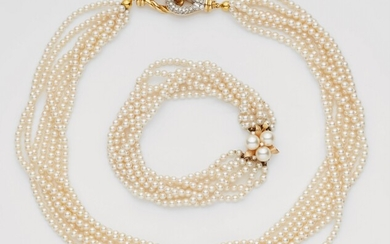 A gold and cultured pearl necklace and bracelet