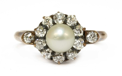A gold cultured pearl and diamond cluster ring