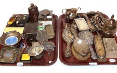 A group of silver, including: various dressing-table items; hot-water jug;...