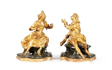 A pair of Louis XV gilt-bronze figures | Paire de figures en bronze doré d'époque Louis XV