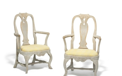 A pair of Swedish Rococo armchairs with traces of original paint. Mid-18th century. (2)