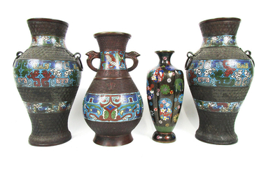 A pair of bronze and enamel vases, hu, a single example similar and a Japanese cloisonné enamel vase