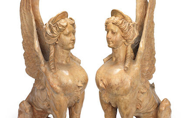 A pair of early 20th century terracotta sphinxes