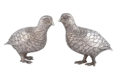A pair of silver models of grouse by Edward Barnard & Sons