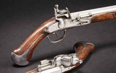A rare pair of flintlock holster pistols made for