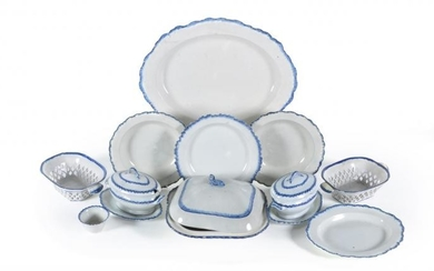 A selection of Staffordshire domestic pearlware with blue feuilles de choux rims