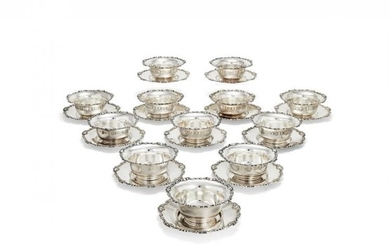 A set of twelve Italian finger bowls and stands by Eugenio Stancampiano