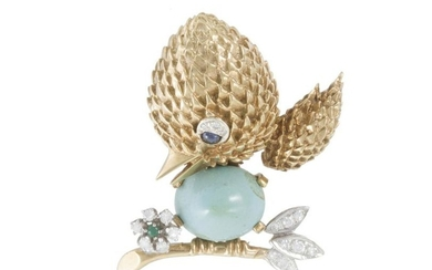 A turquoise, diamond and gem-set chickadee brooch