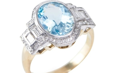 AN AQUAMARINE AND DIAMOND RING - Of Art Deco style, featuring an oval aquamarine weighing an estimated 3.05cts, flanked by stepped e...