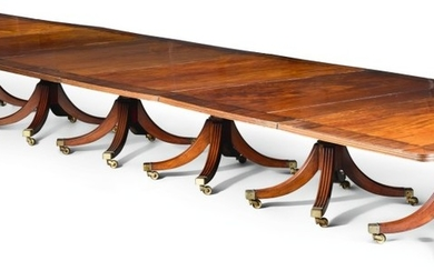 AN IMPORTANT IRISH REGENCY ROSEWOOD BANDED MAHOGANY SEVEN PEDESTAL DINING TABLE, CIRCA 1815, ATTRIBUTED TO MACK, WILLIAMS AND GIBTON
