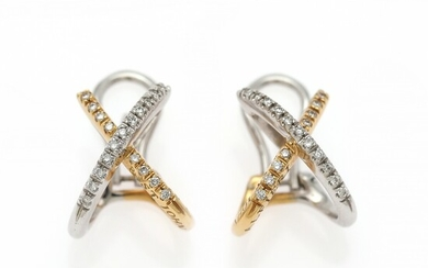 Alfrieri & St. John: A pair of diamond ear pendants each set with numerous diamonds weighing a total of app. 0.26 ct., mounted in 18k white gold and gold. (2)