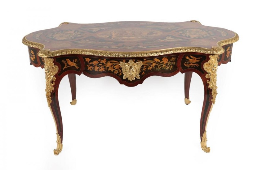 An Impressive Louis XV Style Marquetry Decorated and Ormolu Mounted...