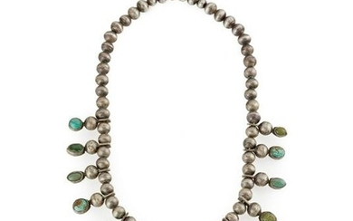 An early Navajo silver and turquoise necklace