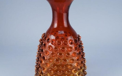 Antique Amberina Art Glass Hobnail Pitcher Jug