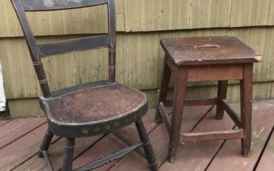Antique American 19th C Child Size Chair & Stool