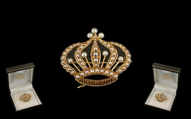 Antique Period Wonderful Quality 14ct Gold Coronet Brooch - ...