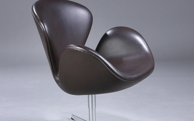 Arne Jacobsen. 'The Swan', lounge chair, Model 3320, upholstered in original dark brown leather, Red Label, 2007