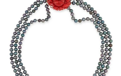 BLACK PEARL AND CARVED CORAL NECKLACE, STAMPED VCA set