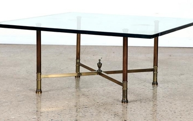 BRASS GLASS COFFEE TABLE X-FORM BASE WITH FINIAL