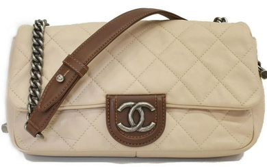 CHANEL BEIGE & BROWN QUILTED LEATHER FLAP BAG